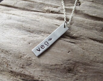 Veg Vegetarian or Vegan with Leaf Aluminum Hand Stamped Long RectanglePendant Necklace on Chain