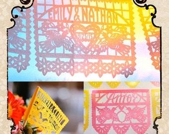 Set - DOS PALOMAS papel picado - Save 10% - custom wedding banners and flags