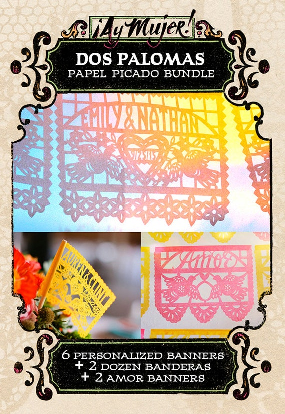 Set - DOS PALOMAS papel picado - Save 10% - custom wedding banners and flags