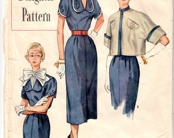"Vintage Sewing Pattern 1950's Designer Ladies' Dress and Jacket Simplicity 8357 32"" Bust"