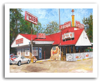 """Shreveport """"Cub Lounge"""" Restaurant Cafe Bar and Grill SS Camaro Art Print Signed and Numbered"""