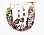 Pink Tourmaline and Watermelon Tourmaline Slice Gemstone Dangle Earrings Raw Stone Earring GEM-E-170-PTWT-002g