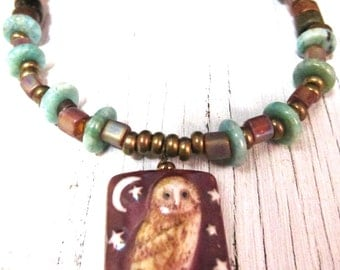 Owl Necklace, Porcelain Bird Necklace, Earthy Amazonite Necklace, Wearable Art by SusanHeleneDesigns