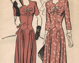 1940s Advance 3132 FF Vintage Sewing Pattern Misses Special Occasion Dress Size 14 Bust 32