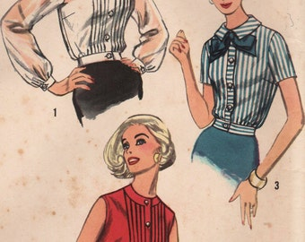 1950s Simplicity 2456 Vintage Sewing Pattern Misses Blouses Size 12 Bust 32, Size 14 Bust 34