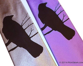 RokGear Mens necktie - Crow Raven custom printed on the necktie color of your choice