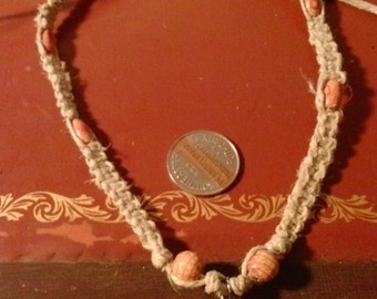 SALE: Hemp necklace with Tibetan silver star charm & wooden beads