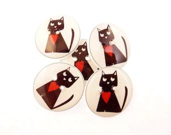 """5 Black Cat Buttons.  Cat or Kitten Handmade Buttons. 3/4"""" or 20 mm."""