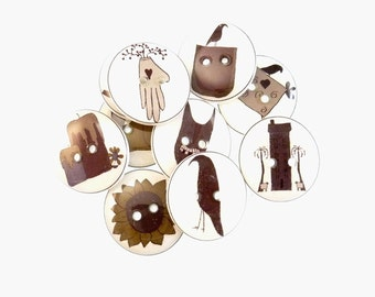 "10 Assorted Primitive Themed Handmade Craft or Novelty Decorative Buttons.  3/4"" or 20 mm Sewing Buttons. Sheep, Crow, Washable  Dryer Safe."