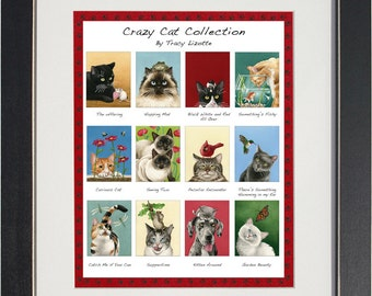 Crazy Cats- an archival watercolor print by Tracy Lizotte