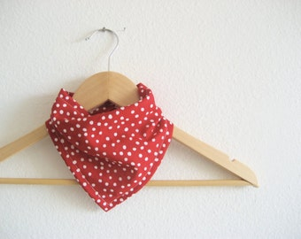 Red Polka Dot Bibdana, Bandana Bib for Baby