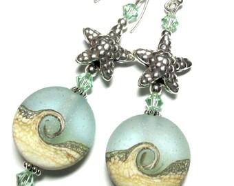Light Green Beach Earrings Ocean Earrings Lampwork Earrings Glass Earrings Green Earrings Handmade Earrings Artisan Earrings Beaded Earrings