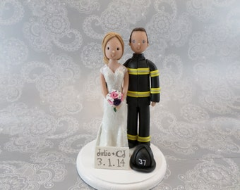 Custom Handmade Firefighter Wedding Cake Topper