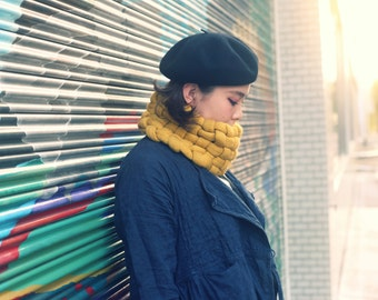 Woven Cowl in Mustard