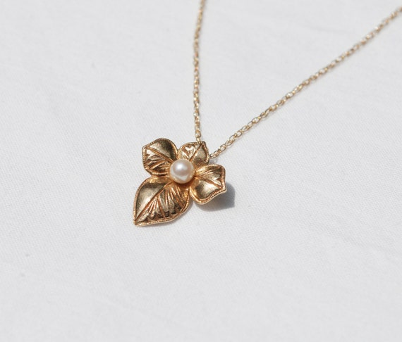 Solid Gold and Cultured Pearl Leaf Necklace