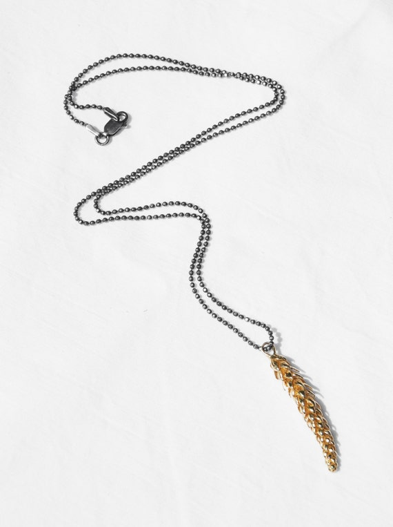 California Necklace- large solid 5 k yellow gold- Norfolk Pine Branch