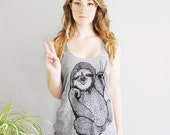 Peace Out Sloth, 5% Donated to Wildlife, womens tank top, racerback tank, sloth gifts for her, sloth, sloth tank, sloth gifts, Simka Sol