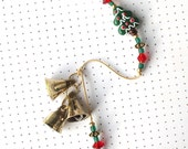 Christmas Wind Chime. Beaded Garden Chime. Lampwork Glass Christmas Tree Beads. Red. Dark Green. Holiday Decor. Snowy. Three Brass Bell.