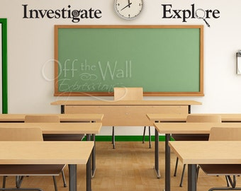 LARGE set of  Classroom vinyl decals, Explore, Investigate, Observe, Question, science teacher learning decals geekery