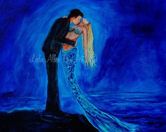 "Couple Mermaid Painting Mermaids Man Kissing Romance In Love Blonde Ocean  Fantasy Art ""Feeling Safe In Your Arms"" Leslie Allen Fine Art"