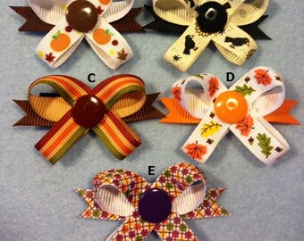 Fall Seasonal Snap N Go Dog Hair Bows - Matching Set Listing