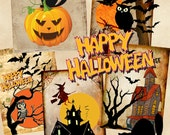 Printable download - HAPPY HALLOWEEN - Digital Collage sheet gift tags for scrapbooking, decoupage, craft. ArtCult downloadable designs