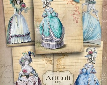 Printable images ROCOCO Digital Collage Sheet jewelry holders notecards gift tags  greeting cards, ArtCult vintage graphics instant download