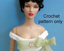Crochet pattern (PDF) for 16-inch fashion doll Tyler or Ellowyne - a wedding gown
