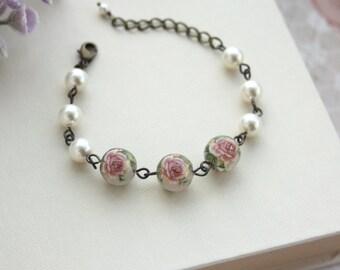 Soft Pink Rose Flower, Ivory Pearl, Japanese Tensha Vintage Style Bracelet. Pink Bridal Wedding. Bridesmaid Gift, BFF, Sister, Maid of Honor