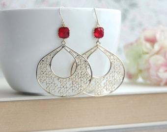 Gypsy Art Deco Filigree, Ruby Red, Red Chandelier Earrings, Gold Filigree Hoop Earrings. Maid of Honor. Bridesmaids Gifts. Bohemien Summer.