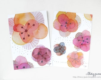 Red Flower Dot Illustration Watercolor Painting Postcard - Botanical Contemporary Art - Blooming Flower Watercolor Print Card in Red Tones