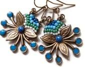 Tribal, Bohemian Blue Beaded Earrings, Micro Mosaic, Aztec