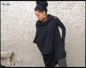 Long Sleeve Top, Black Mini Dress, Sexy Black Top, Black Tunic Top, Black Tunic Dress, Long Sleeve Top, Womens Tunic, Extravagant Dress