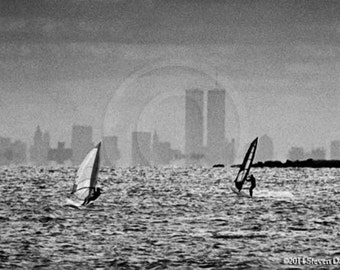 Windsurfers, NYC Skyline Viewed From Greenwich Connecticut
