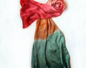 Hand PAinted Silk Scarf Coral Feathers. Silk Satin Scarf Ombre. Satin Shawl Painted. Large satin shawl. Green Red Scarf Shawl Silk Painting