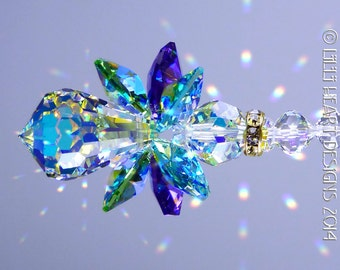 Suncatcher m/w Swarovski Crystal the Original *PEACOCK COLORS ANGEL* Extemely Rare Aurora Borealis Body and Wings Lilli Heart Designs