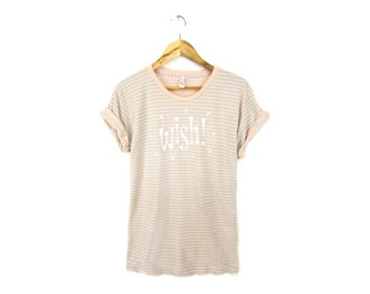 SAMPLE SALE Wish Tee - Boyfriend Fit Crew Neck T-shirt with Rolled Cuffs in Pastel Mint Peach and White - Women's Size M Q