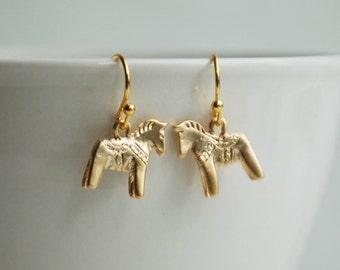 HORSE EARRINGS Horsewoman Tiny Toy Swedish Dala Horse Equestrian Gold Pony