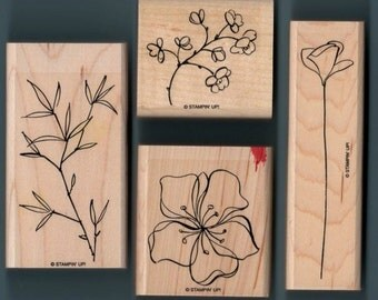 Flowers - Branches - 4 Great WM Stamps - Cards - Collage - Scrapbooks - ATC - Domino Art - FREE Shipping