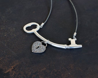 Midnight Lock Down - Sterling Silver Skeleton Key and Pave Diamond Heart Lock by Prairieoats