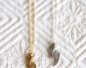 Tiny Angel Wings Necklace -- Sterling Silver or Gold Filled