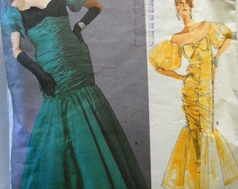 Vogue Vintage Pattern Designer Original Bellville Sassoon 1819 Big EIGHTIES Floor Length Formal Dress