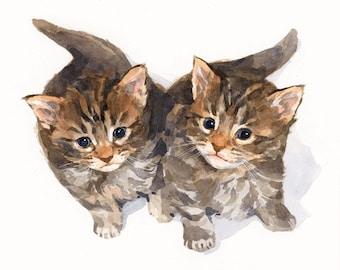 Two Pets Watercolor Portrait, 8x10 Custom Watercolor Painting