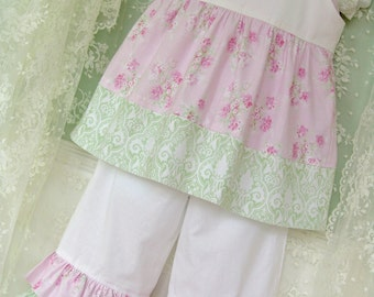 """Tea Party Jumper Sundress Top Summer PDF Pattern 6m to 12 Juvie Moon Designs with 13"""" and 18"""" Doll Pattern"""
