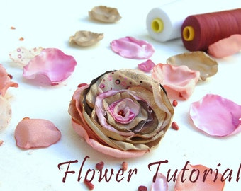 Flower Tutorial, How to Make Fabric Flowers, PDF, DIY Flower instructions, Make Your Own Fabric Flowers, Bridal Hair Flowers, TAGT Team
