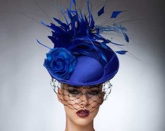 Royal Blue Fascinator, cocktail hat, Headpiece, Royal ascot hats,Melburne cup hats, Couture hat.