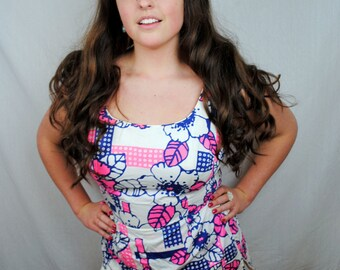 Vintage 1960s Cole of California Pin Up Floral BOMBSHELL Swimsuit  - XL