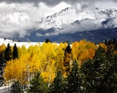 Snow Mountain Pikes Peak Colorado Autumn Aspens Snowy Forest Rustic Cabin Lodge Photograph