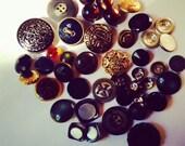 DESTASH - Buttons - Vintage Shank and Flat Button Collection - Blacks, Greys, Metallics, White, Rhinestone Huge Lot