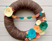Yarn Wreath Felt Handmade Door Decoration - Festival 12in